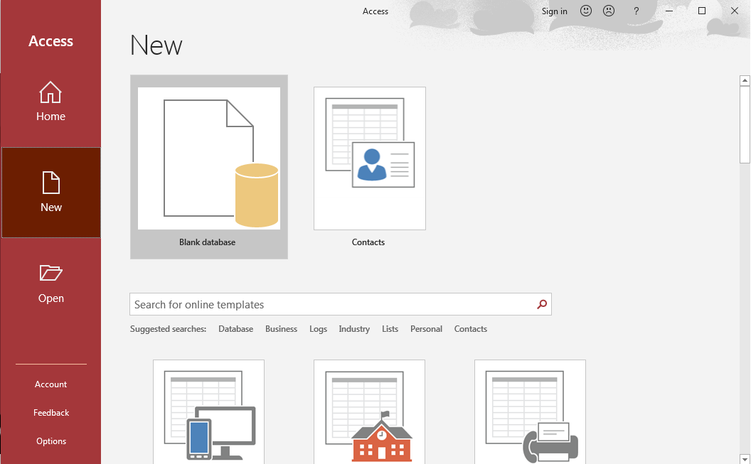 The Microsoft Access New page. Blank database has been selected