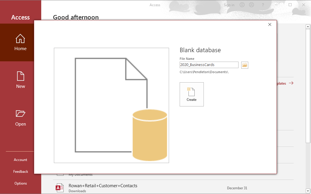 Dialog box for a new database. The file has been named 2020_Business cards