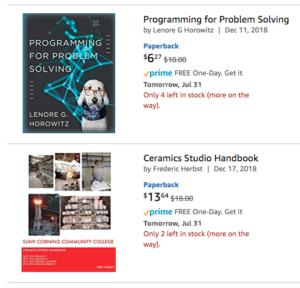 Amazon listing of 2 SUNY OER textbooks