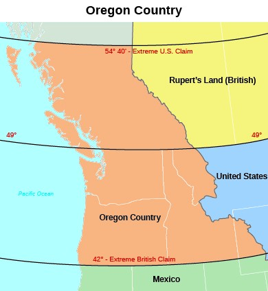 "A map of the Oregon territory during the period of joint occupation by the United States and Great Britain shows the area whose ownership was contested by the two powers. The uppermost region is labeled ""Rupert's Land (British),"" which lies in between the ""54° 40′- Extreme U.S. Claim"" and ""49°"" lines. The central region, which lies in between the ""49°"" and ""42° - Extreme British Claim"" lines, contains Oregon Country. Beneath the ""42° - Extreme British Claim"" line lies Mexico."
