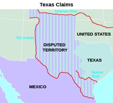 "A map titled ""Texas Claims"" indicates the borders of Mexico, Texas, the United States, and ""Disputed Territory,"" as well as the Rio Grande, the Arkansas River, and the Nueces River."