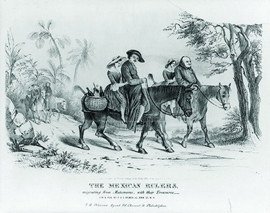 "A lithograph shows several members of the clergy fleeing the Mexican town of Matamoros on horseback. Each man has a young woman behind him; the horse in the foreground also carries a basket laden with bottles of alcohol. The caption reads ""The Mexican Rulers. Migrating from Matamoros with their Treasures."""