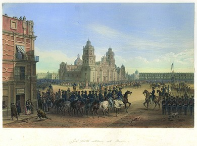 A painting depicts General Winfield Scott on a white horse leading troops into Mexico City's Plaza de la Constitución as anxious residents of the city look on. One woman peers furtively from behind the curtain of an upstairs window. On the left, a man bends down to pick up a paving stone to throw at the invaders.
