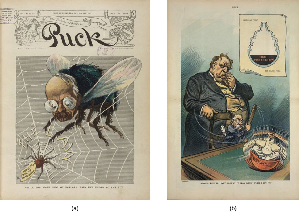 Image A is an illustration of a large fly with a man's face. The fly is stuck in a web labeled