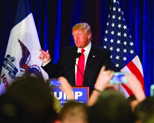 Photo shows Donald Trump speaking at a podium.