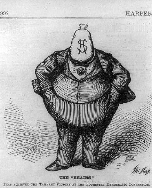 An image of a corpulent cartoon figure wearing a suit, hands in pockets, with a bag of money instead of a head. Text under the figure reads