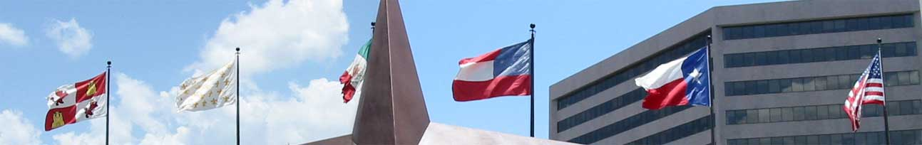 This image displays the six flags of texas
