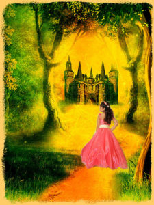 photo of a young girl wearing a bright pink dress, against a hand-drawn landscape with a castle through a forest ahead of her