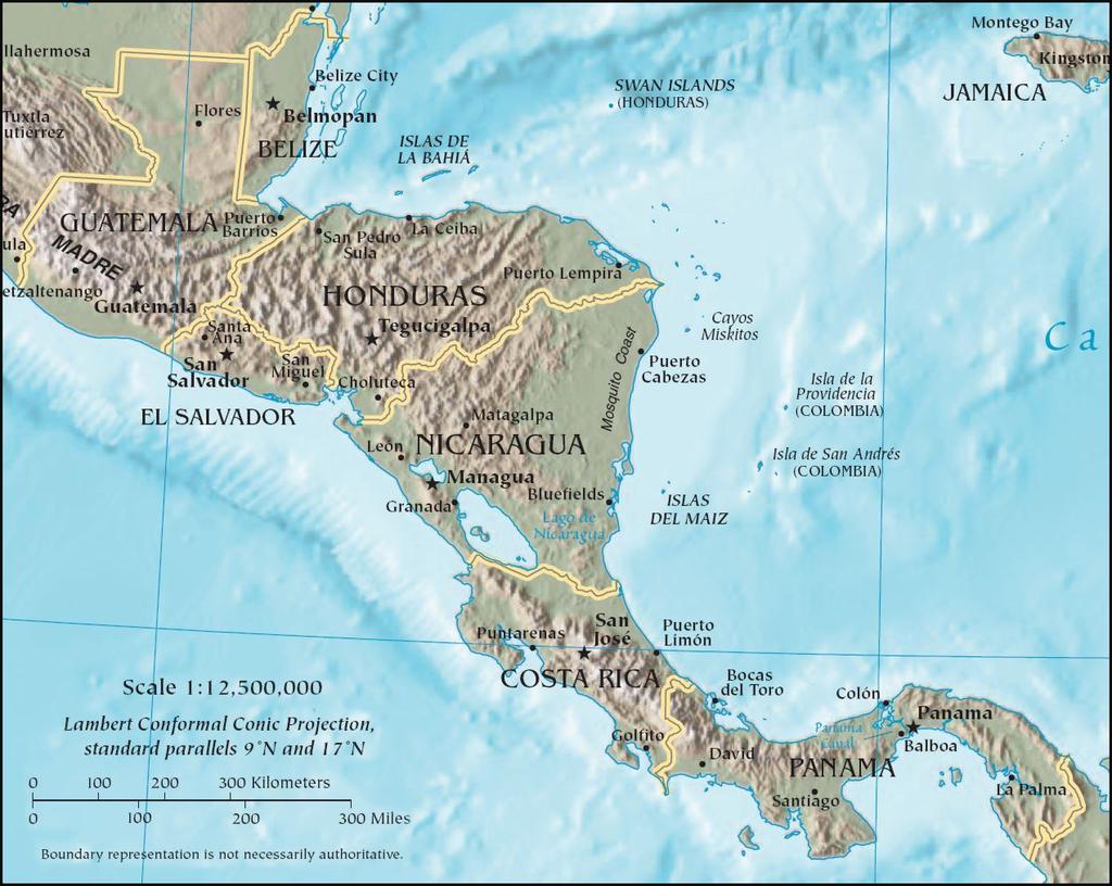 mapa físico de Centroamérica