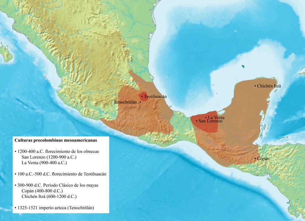 Mapa que muestra las cuatro culturas precolombinas estudiadas en este capítulo: los olmecas (San Lorenzo 1200 a 900 a.C. y La Venta , 900 a 400 a.C.) en la costa del Golfo de México; los teotihuacanos (Teotihuacán, 100 a.C. a 500 d.C.) en el centro de México; los mayas (Copán, 400 a 800 d.C., y Chichén Itzá, 600 a 1200 d.C.) en el sur de México, Yucatán y Guatemala; y los aztecas (Tenochtitlán, 1325 a 1521 d.C.) en el centro de México.