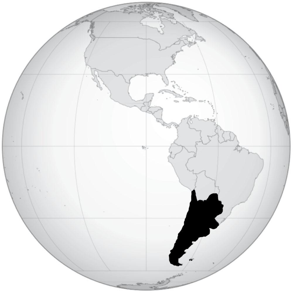 mapa hemisférico que muestra el Cono Sur, o sea Chile, Argentina, Paraguay y Uruguay