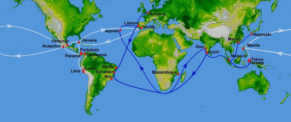 Mapa que muestra las rutas de comercio de los españoles (en blanco) y los portugueses (en azul) en la época colonial.
