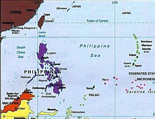 mapa que muestra en detalle el Mar Filipino, con las Filipinas, Palau, Guam, y las Islas Marianas