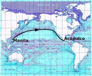"""mapa del Océano Pacífico con flechas mostrando las corrientes típicas, y una línea marcando la ruta del """"tornaviaje"""" entre Manila y Acapulco"""