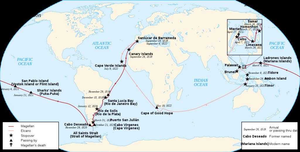 Mapa que muestra la ruta de la expedición Magallanes-Elcano, con los lugares y fechas donde hicieron escala; la línea de la ruta cambia de color después de la muerte de Magallanes, cuando Elcano es capitán del último barco.