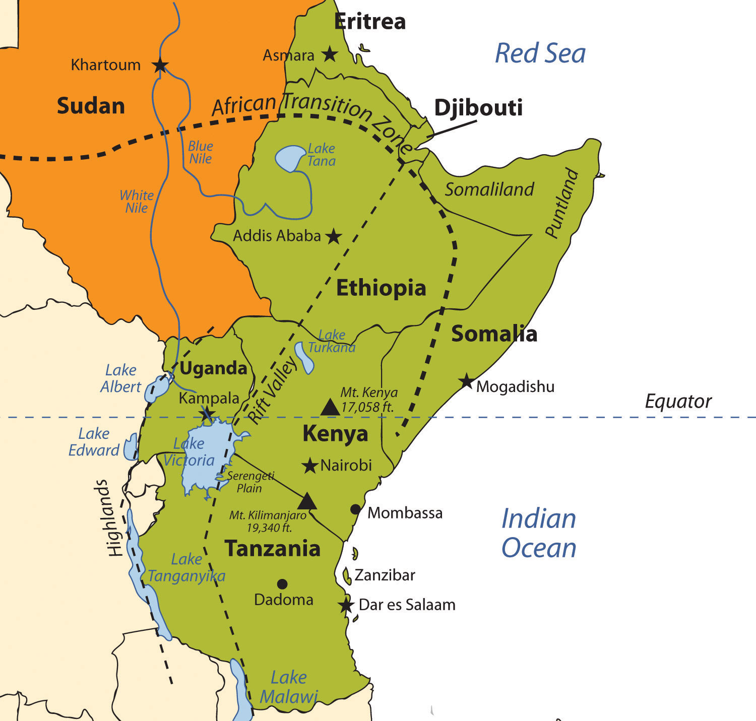 where is the serengeti plain on a map of africa 7 5 East Africa World Regional Geography People Places And where is the serengeti plain on a map of africa
