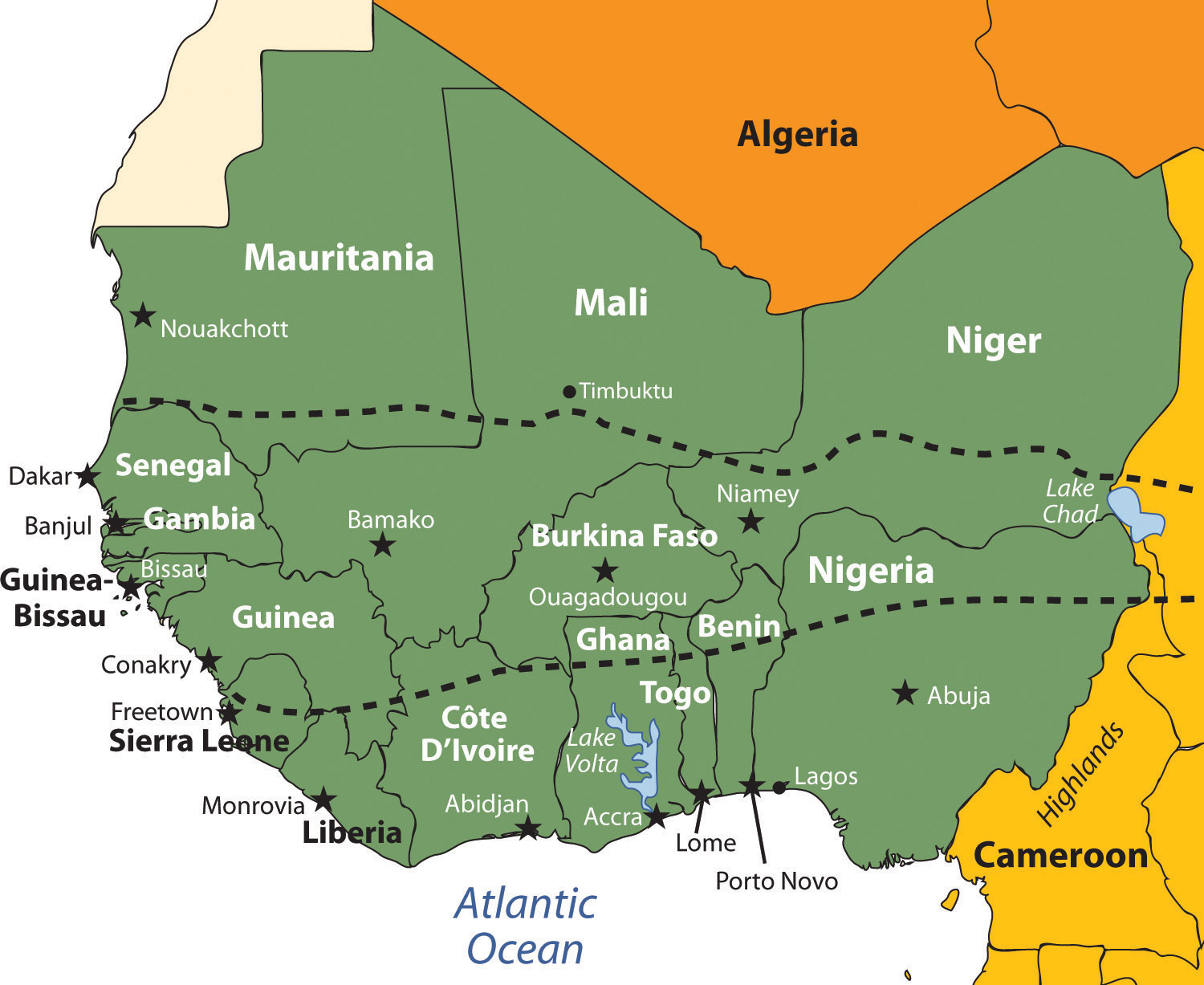 Western Africa Map 7.3 West Africa | World Regional Geography: People, Places and