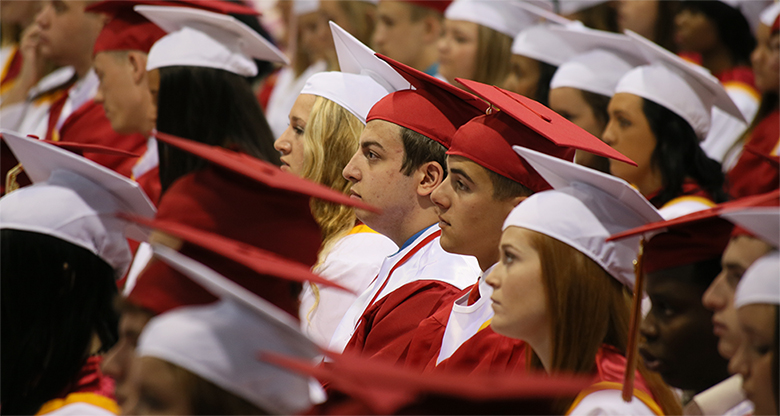 This is a photograph of students at their high school graduation ceremony