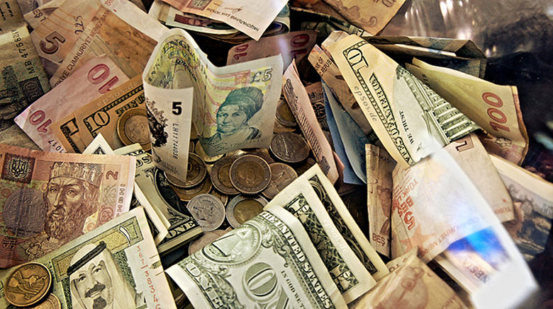 This is a picture of many different currencies from around the world.