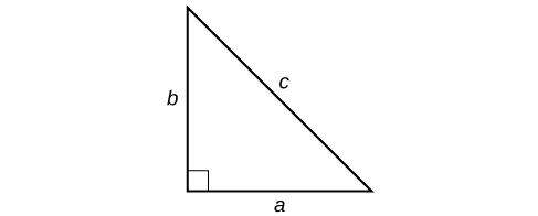 Right triangle with the base labeled: a, the height labeled: b, and the hypotenuse labeled: c