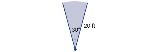 Illustration of a 30-degree angle with a terminal and initial side with length of 20 feet.