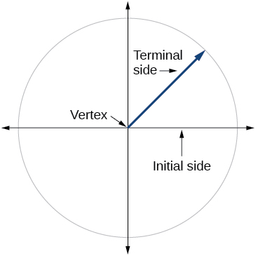Graph of a circle with an angle inscribed, showing the initial side, terminal side, and vertex.