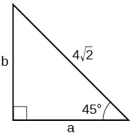 A right triangle with corners labeled A, B, and C. Hypotenuse has length of 4 times square root of 2. Other angles measure 45 degrees.