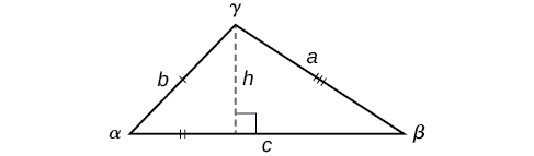 An oblique triangle consisting of sides a, b, and c, and angles alpha, beta, and gamma. Side c is opposide angle gamma and is the horizontal base of the triangle. Side b is opposite angle beta, and side a is opposite angle alpha. There is a dotted perpendicular line - an altitude - from the gamma angle to the horizontal base c.