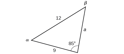 An oblique triangle with standard labels. Side b is 9, side c is 12, and angle gamma is 85. Angle alpha, angle beta, and side a are unknown.