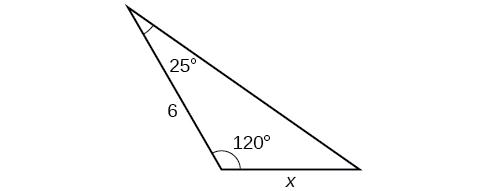 A triangle with one angle = 120 degrees. Another angle is 25 degrees with side opposite = x. The side adjacent to the 25 and 120 degree angles is of length 6.