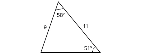 A triangle. One angle is 58 degrees with opposite side unknown. Another angle is 51 degrees with opposite side = 9. The side adjacent to the two given angles is 11.