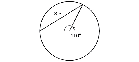 A triangle inscribed in a circle. Two of the legs are radii. The central angle formed by the radii is 110 degrees, and the opposite side is 8.3.