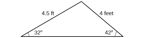 A triangle. One angle is 32 degrees with opposite side = 4. Another angle is 42 degrees with opposite side = 4.5.