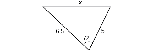 A triangle. One angle is 72 degrees, with opposite side = x. The other two sides are 5 and 6.5.