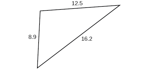 A triangle with sides 8.9, 12.5, and 16.2. Angles unknown.