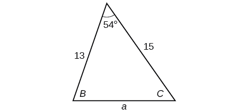 A standardly labeled triangle. Angle A is 54 degrees with opposite side a unknown. Angle B is unknown with opposite side b=15. Angle C is unknown with opposite side C=13.
