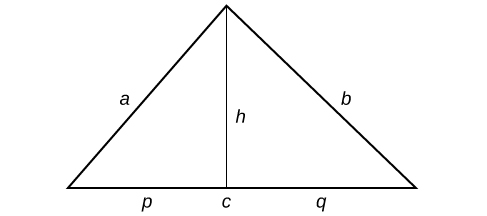 A triangle with sides labeled: a, b, and c. A line runs through the center of the triangle bisecting the angle at the top; this line is labeled: h. The two new line segments on the base of the triangle are labeled: p and q.