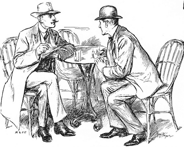 Drawing of two men sitting at a cafe table talking.  They are wearing period dress (bowlers, suits, bow ties).