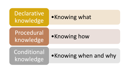 Depiction of Information Processing. From top to bottom: Declarative Knowledge, Procedural Knowledge, Conditional Knowledge.