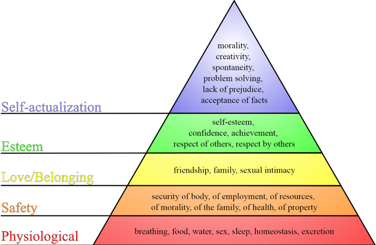 Maslow's shows a hierarchy with Self actualization on the top, to Esteem, to Love Belonging, Safety, and Physiological