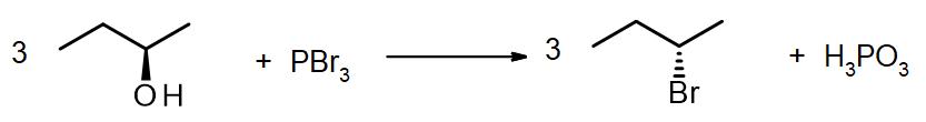 Preparation of (2S)-bromobutane using PBr3
