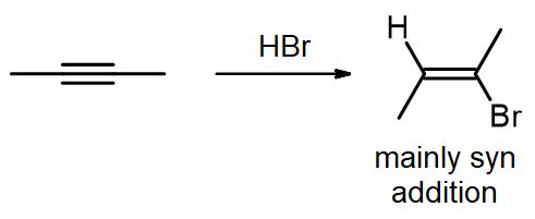 Addition of one HBr to an internal alkene, giving a vinyl bromide
