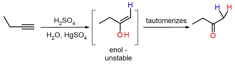 But=1-yne adds H2O in presence of H2SO4/HgSO4 to form an enol, and then butanone