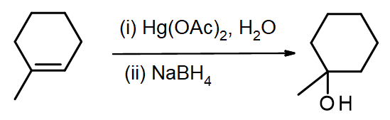 methylcyclohexene reacts with mercury(II) acetate in water, then NaBH4, to produce 1-methylcyclohexanol