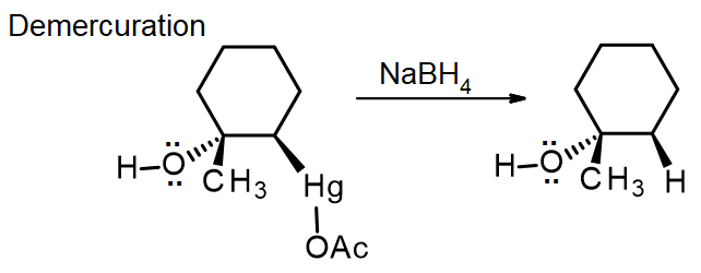 The organomercury compound from oxymercuration is reduced with NaBH4 to form 1-methylcyclohexanol
