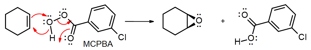 Single step mechanism for MCPBA epoxidation of cyclohexene - O of OH attacks and is attacked by alkene, with loss of carboxylic acid