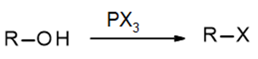Reaction of a generic alcohol with PX3 to produce an alkyl halide