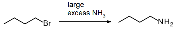 RBr reacts with large XS of NH3 to make RNH2