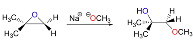 Reaction of an epoxide with methoxide ion showing attack at the less substituted position