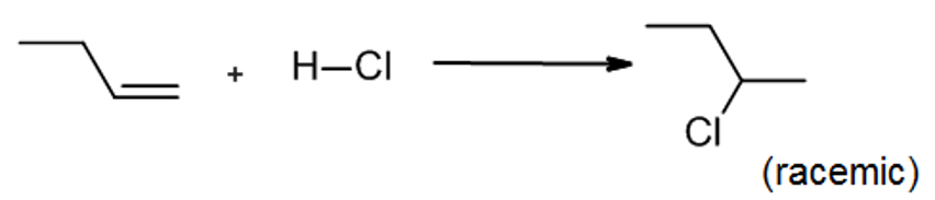 HCl adds to but-1-ene to form 2-chlorobutane